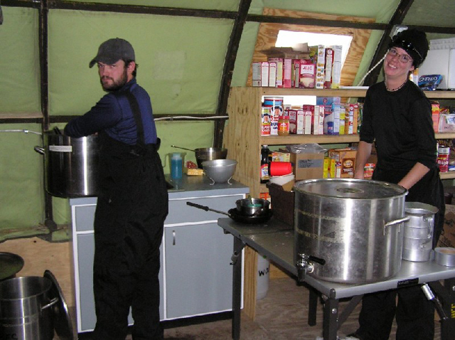 Washing dishes at Lake Fryxell, 2004-2005 season (photo by A. Chiuchiolo)