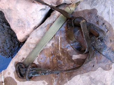 Webbing anchor above the dryfall--I would rappel down using this the following day
