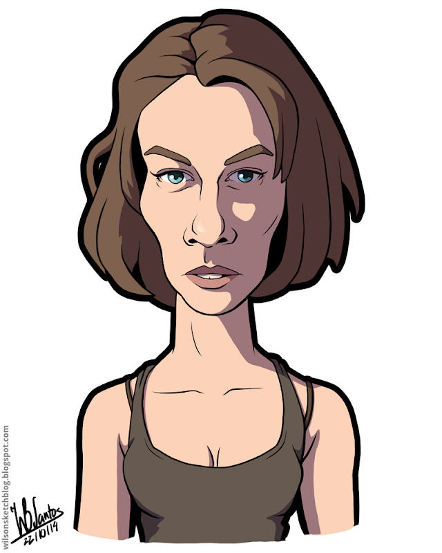 Cartoon caricature of Lauren Cohan as Maggie Greene from the Walking Dead.