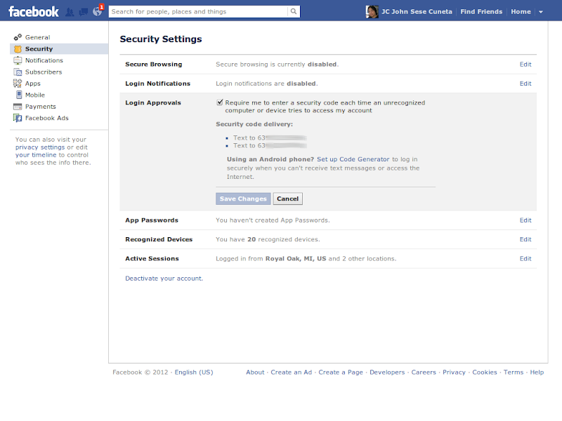 Activate Facebook's Two-Factor Authentication - Laboratory Sandbox