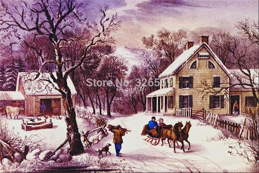 scenery carriage giclee printing canvas oil painting WK