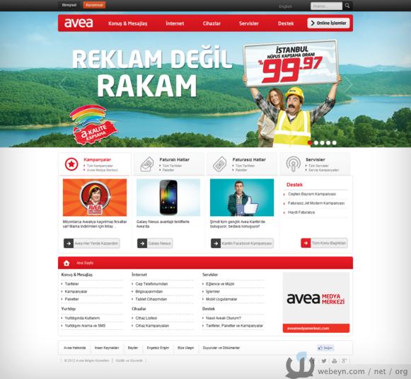 Avea'nın yeni web sitesi