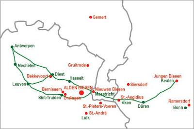 """Niet toevallig lagen de vestigingen in de buurt van de middeleeuwse handelsweg Brugge/Antwerpen-Keulen. Gemert lag op de handelsweg naar 's Hertogenbosch, met Gruitrode als tussenstopplaats. Wat rest er nu nog als erfenis van de """"Limburgse"""" balije Biesen en haar 12 commanderijen? (kaartje: Willy Leenders)"""