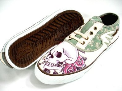 cc97dfa0ab Ed Hardy Men s Low Cut Sneakers Shoes Mercury - Skull Rose - Fatigue  18MR110M