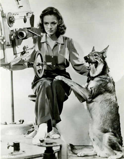 Donna Reed and a dog