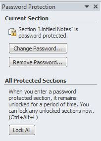 Change password or remove password in onenote 2010