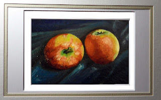 Daily Painting, oil painting of two pink lady apples on a blue silk background