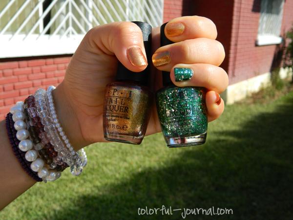 Gold and Glitter Green Nails for Christmas OPI skyfall goldeneye