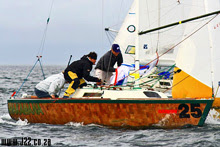 J/22 one-design sailboat- sailing off South Africa