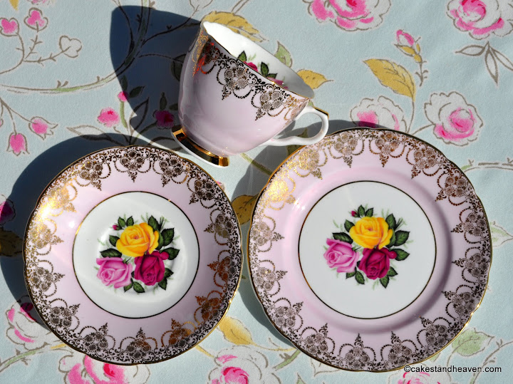 Imperial pale pink with roses vintage teacup trio