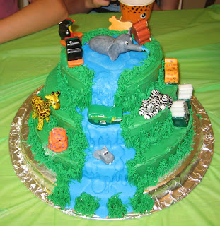Jungle Animal Cake with Jungle Animal Candles
