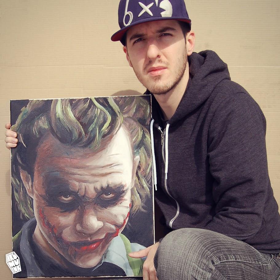 joey poulin, joker painting, comission art, buy art, dark knight art, joker paint, batman painting, comicbook painting, joker realistic art, batman joker,