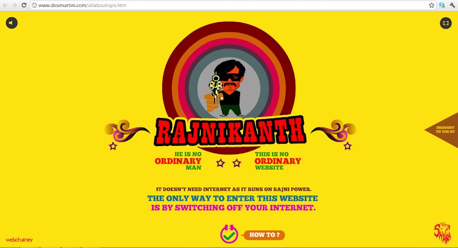 Rajnikanth's website doesn't need internet