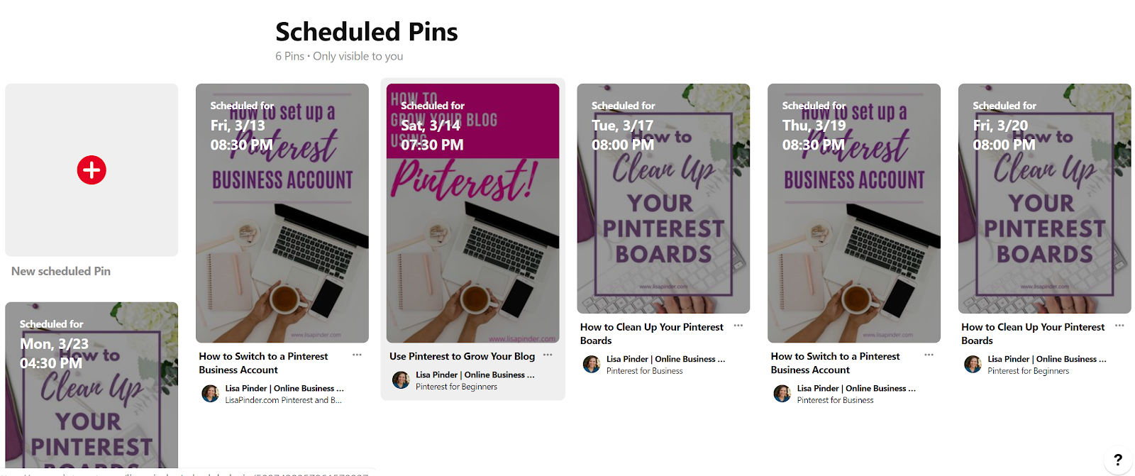 How to Schedule Pins on Pinterest. What the scheduled pins look like within Pinterest