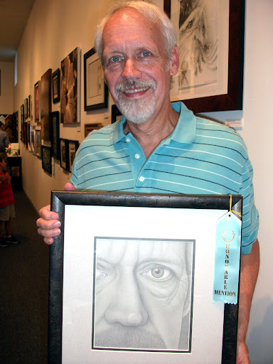 """Honorable Mention: """"Close-Up"""" by Steve Femmer. Grey Colored Pencil"""
