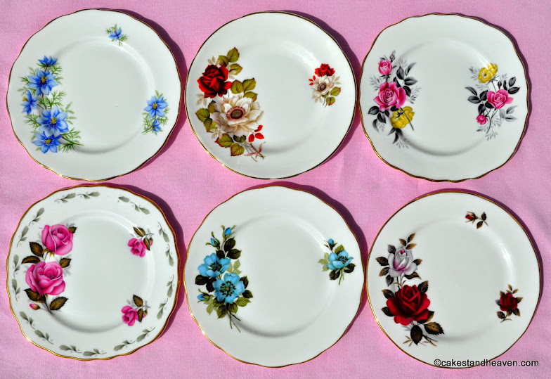 Mismatched Tea Set Tea Plates with Colouful Flowers
