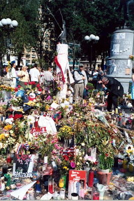 Flowers at a memorial after the terrorist attacks in New York City in September 2001