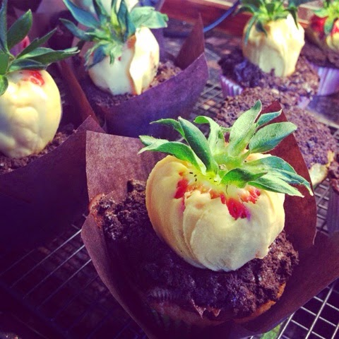 Chocolate dipped strawberries and crushed Oreo Easter cupcakes