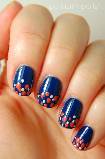 graduation manicure polka dots