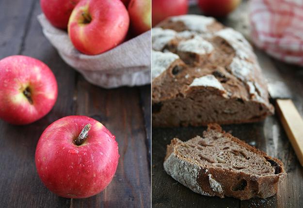 Pan de manzanas, nueces y pasas