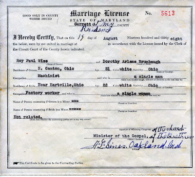 Roy Wise and Dorothy Brumbaugh Marriage License