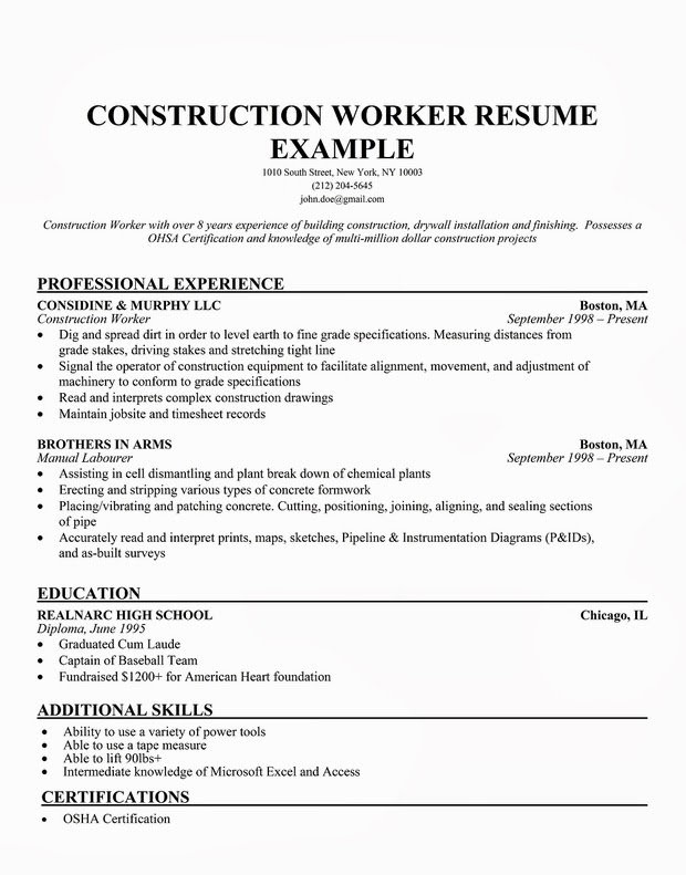 Construction CV template Brefash