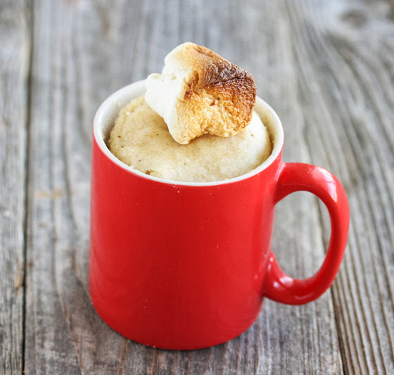 S'more Mug Cake in a red mug