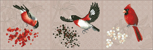 Red Birds and Berries cross stitch pattern