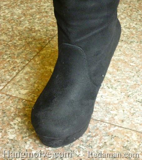 Boots đế xuồng, cao cổ quá đầu gối, chất liệu bằng da lộn, màu đen 5 - Chỉ với 680.000đ