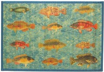 Laser Printed Split Bamboo Ocean Fish 3 X 5 Veranda Rug Area