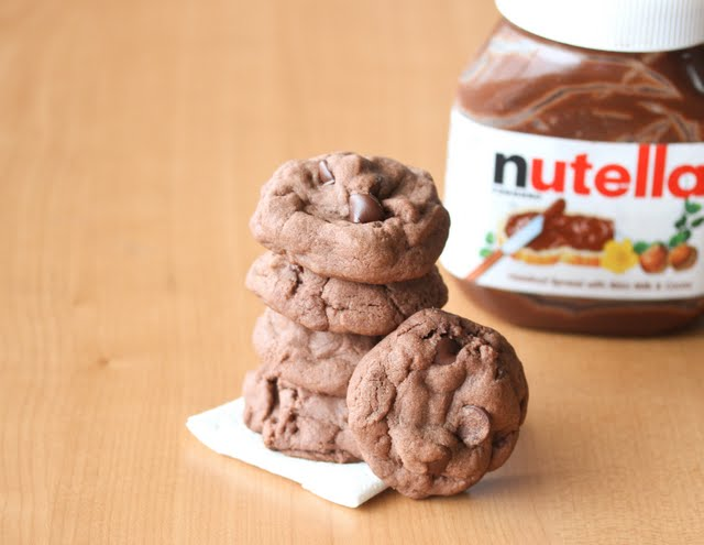 close-up photo of Soft Nutella Chocolate Cookies