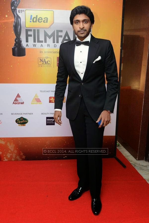 Vikram Prabhu looks dapper in suit at the 61st Idea Filmfare Awards South, held at Jawaharlal Nehru Stadium in Chennai, on July 12, 2014.