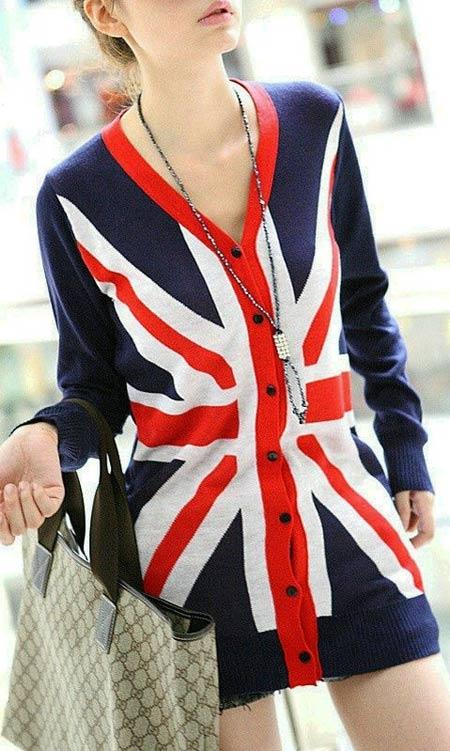 Inspiração Union Flag (bandeira do Reino Unido) - cardigan