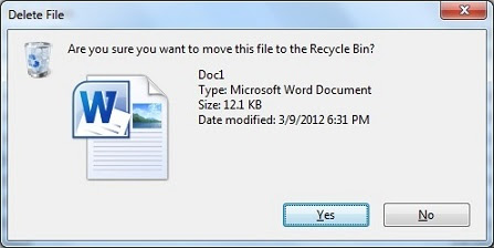 File deletion confimraion dialog in Windows 7