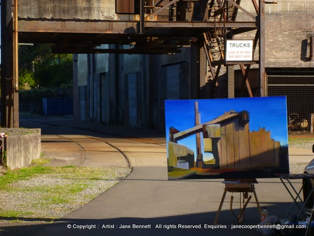 plein air oil painting of the White Bay Power Station by industrial heritage artist Jane Bennett