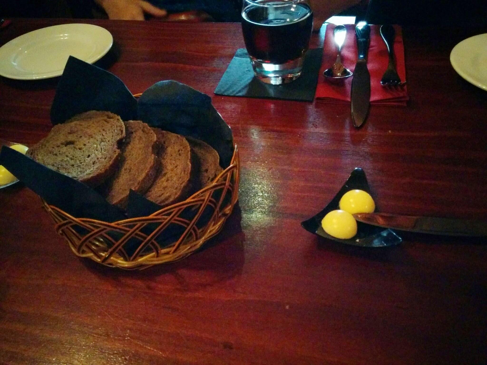 Dark rye bread with butter