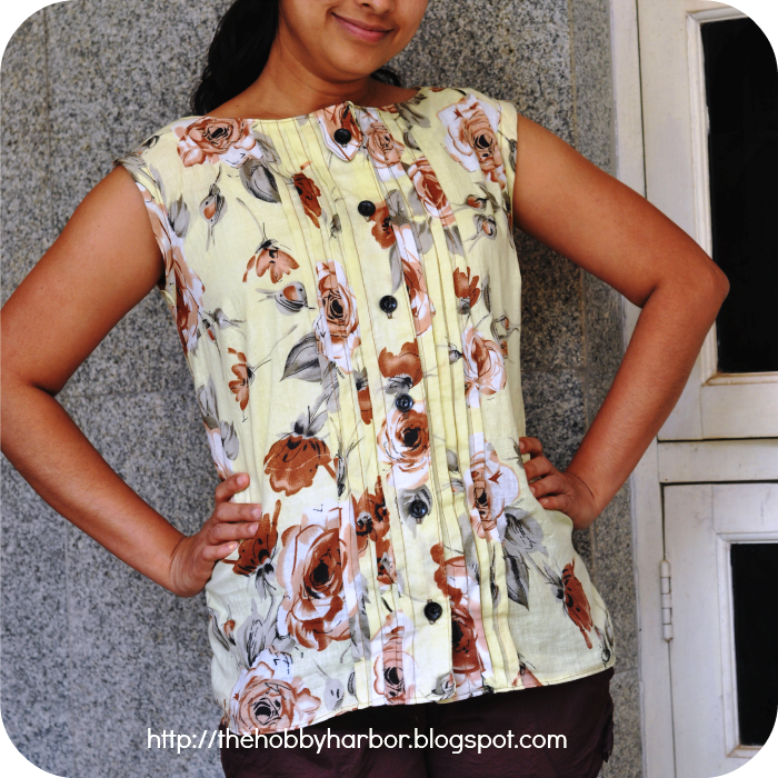 Sassy librarian blouse by christine haynes pattern with tucks