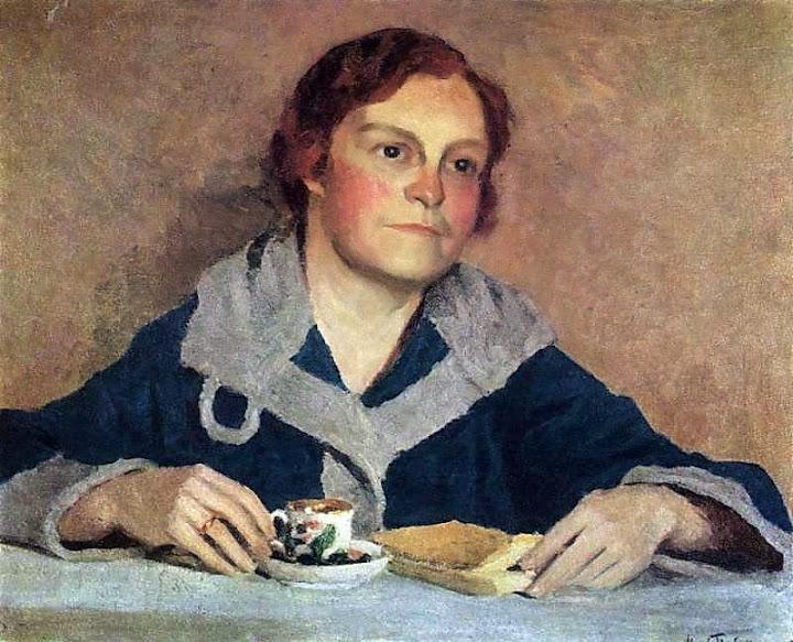 Igor Grabar - Reading. V.M.Grabar portrait, the artist's wife
