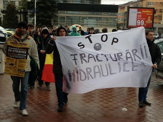 Protest împotriva exploatării gazelor de şist prin fracturare hidraulică