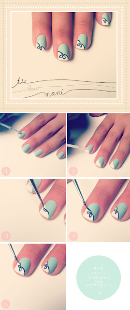 Bow print  with baby blue and white color combination on your nail gives a cute and tidy look.