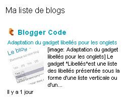 Présentation du gadget Liste des blogs