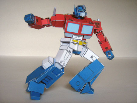 Transformers G1 Optimus Prime Paper Model Poseable