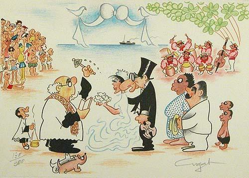Rita Montaner marrying Xavier Cugat, by Xavier Cugat, @<a href='http://brok.es'>Brok</a>.