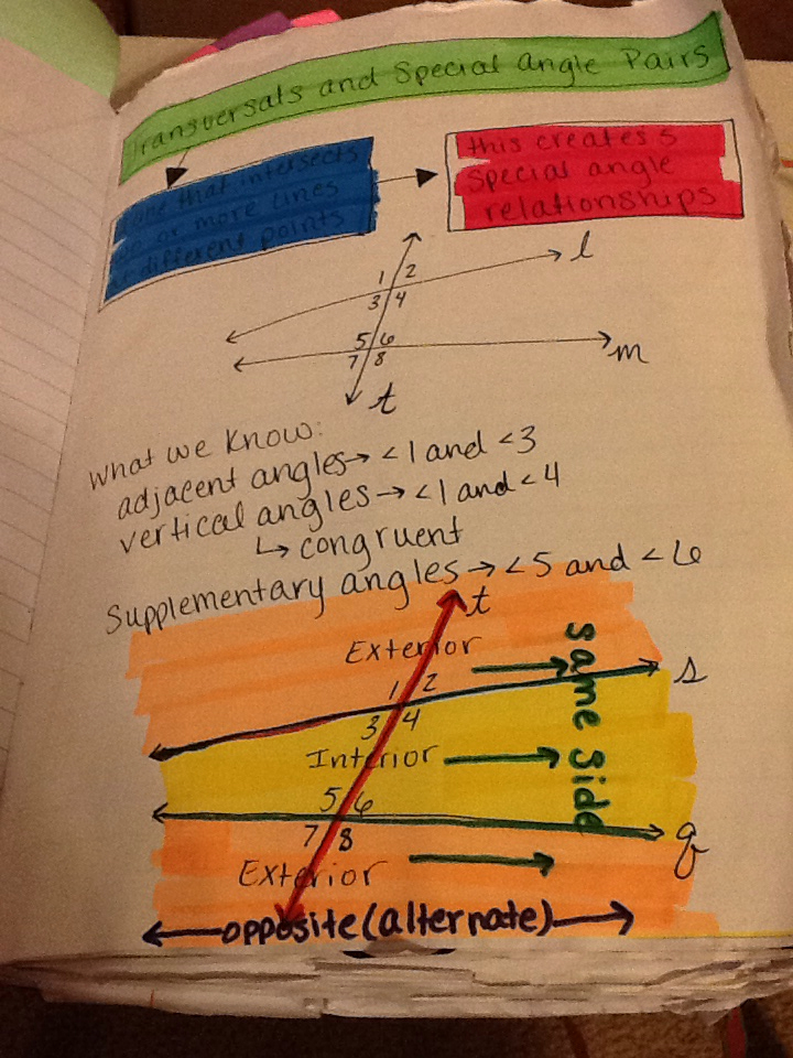 Journal Wizard Geometry Parallel Lines Transversals And Special