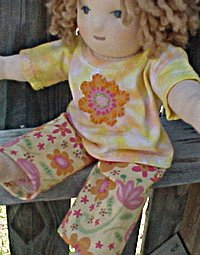 "Flower outfit or PJ's for Waldorf Doll - Custom size to fit your doll 10"" - 21"""