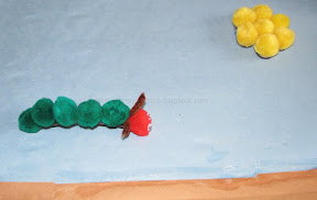 "Enact ""The very hungry caterpillar"" story with Magnetic pom poms and cookie tray"