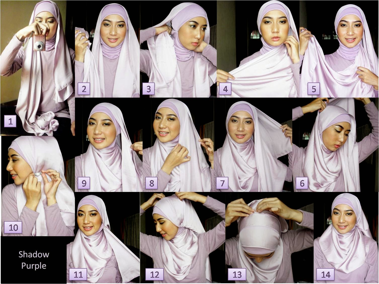 Deskripsi Gambar Hijab Tutorial Paris Segi Empat Untuk Wajah Bulat :
