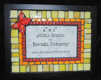 MOF1368 Happy Red Butterly in a Yellow Field Mosaic Photo Frame