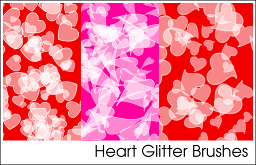 Heart Glitter Brushes by sarah-e-kushner