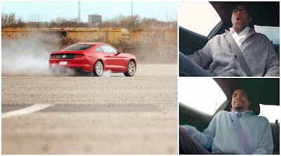 Partida do encontro às cegas com condutora profissional num Ford Mustang